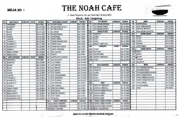 Cafe Noah the noah cafe info kuliner